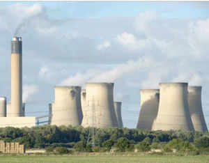A view of the cooling towers of a British energy company Drax that has abandoned a 1 billion GBP installation of carbon capture technology to cut emissions.
