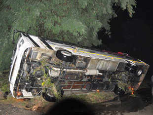 The passenger bus, plying between Aizawl and Lawngtlai, headquarter of Lawngtlai district, rolled down the gorge near Ramlaitui village last night.