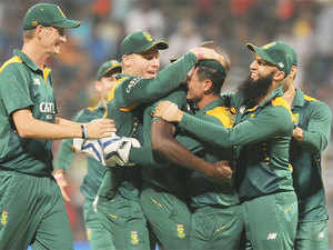 Powered by centuries each from Faf du Plessis, AB de Villiers and Quinton de Kock, South Africa registered a mammoth 214-run win over a spiritless India in the fifth and final ODI.