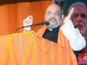 BJP president Amit Shah took BSP's ex-Lok Sabha leader Dara Singh Chouhan from UP's Ghosi in his chopper for his four rallies.