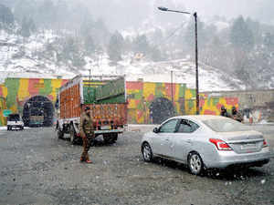 """(Representative image) The """"Karvan-e-Aman' was suspended as heavy rains over the past two days left a portion of the 170-km Srinagar-Muzaffarabad road near 'Aman Sethu' (peace bridge) in Uri sector submerged, they said."""