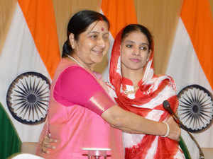 """""""Geeta has failed to recognise her family after meeting them. So, the Indian government will conduct a DNA test,"""" external affairs minister Sushma Swaraj said at a press meet."""