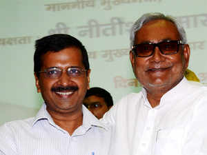 """""""I appeal to the brothers and sisters of Bihar to vote to make Nitish ji the CM of Bihar,"""" Kejriwal tweeted. Nitish Kumar was quick to respond."""