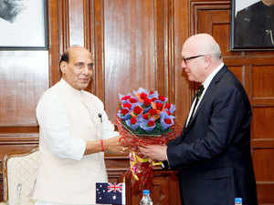 Union Home Minister Rajnath Singh with Australian Attorney General George Brandis QC during their meeting in New Delhi.