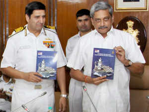 Defence Minister Manohar Parrikar with Chief of Naval Staff, Admiral R.K. Dhowan releasing the Navy's strategic guidance document titled 'Ensuring Secure Seas - Indian Maritime Military Strategy' at the biannual Naval Commanders' Conference