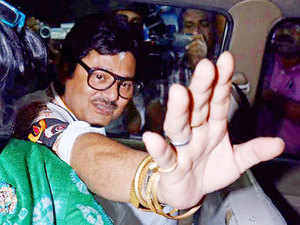 TMC MP Tapas Pal comes out of CBI office in Kolkata on Wednesday after a questioning in connection with Sharada, Rose Valley and other multi crore chit fund scams.