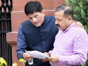 Power Minister Piyush Goyal. (In Blue)
