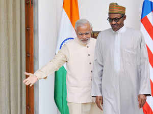 Prime Minister Narendra Modi today raised with Nigerian President Muhammadu Buhari the issue of 11 Indian crew members languishing in a jail in that country.