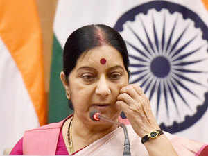 """Swaraj said at one time India and Africa were one landmass, united by geology and today are """"united by our common goal for progress""""."""