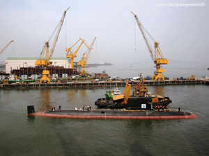 Kalvari, which was constructed by the Mazgaon Dock Shipbuilders, was yesterday separated from the pontoon and set afloat.