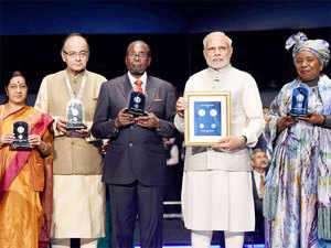 Prime Minister Narendra Modi today released commemorative postal stamps and coins at the third India-Africa Forum Summit.