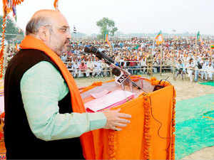BJP National President Amit Shah addressing public meeting in Bhore.