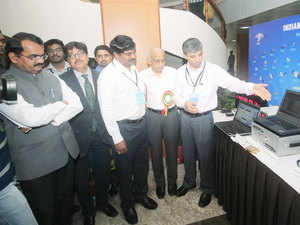 Right to left ISRO Chairman Kiran Kumar , Dr G Satheesh Reddy, SA to Raksha Mantri , R K Srivastava, Chairman AAI, Dr M Anna Durai, Director ISAC going through the exhibition stalls after the at the inauguration of Global Navigation Satellite System {GNSS} Users meet 2015 at ISRO Satellite Centre {ISAC} in Bengaluru.
