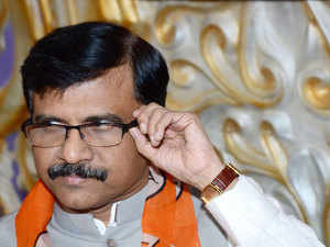 Shiv Sena MP Sanjay Raut talking to newsmen in Patna.