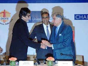 Ratan Tata (R) , chairman emeritus of Tata Sons, and actor Amitabh Bachchan (L) have urged the corporate sector to join hands with the government in their fight against tuberculosis. At an event launched by US Ambassador to India Richard Verma.