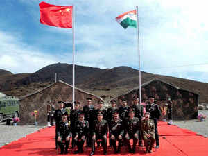 In pic: Officers of Indian and Chinese armies during a special border personnel meeting in the Chinese side opposite Bum La in Tawang district of Arunachal Pradesh