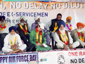 The 'One-Rank- One-Pension Scheme' was brought into force with govt issuing a notification which will benefit over 25 lakh veterans and war widows.  In pic: Ex-servicemen protesting for 'One Rank One Pension' (OROP) at Jantar Mantar in New Delhi.