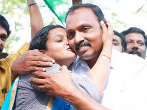 Supporters of LDF celebrating their victory at Cochin Corporation.