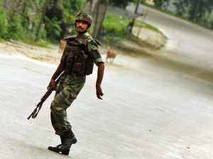 File photo: Army Jawans patrol deserted streets of Kokrajhar as Bodo groups burst out in protest following the arrest of local MLA.