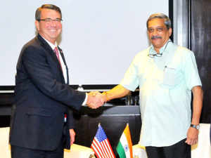 Defence Minister Manohar Parrikar shakes hands with US Secretary of Defence, Ashton Carter during a meeting on the sidelines of the 3rd ASEAN Defence Ministers' Meeting (ADMM-plus) at Kuala Lumpur.