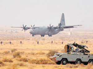 File photo: IAF's C-130J-30 Super Hercules transport aircraft landing during the Exercise IRON FIST 2013-- a day-dusk-night fire power demonstration,at Pokhran, Jaisalmer.