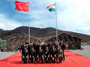 In pic: Officers of Indian and Chinese armies during a special border personnel meeting in the Chinese side opposite Bum La in Tawang district of Arunachal Pradesh.