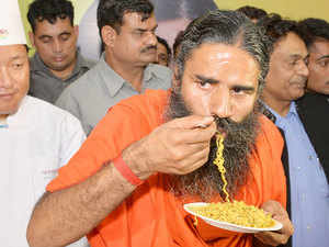 Ramdev launches atta noodles.