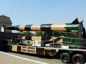 (In pic) Agni-1 missile system is on display during the preview of the Indian Army for the Republic Day celebrations in New Delhi.