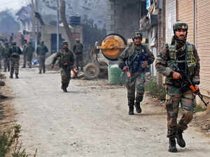 In pic: Security jawans patrolling in Pulwama District
