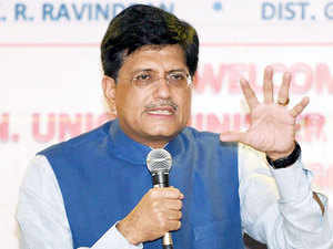 Union Minister of State, Independent Charge for Power, Coal, New and Renewable Energy, Piyush Goyal addresses during an interactive session in Mumbai.