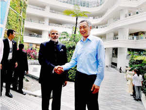Prime Minister Narendra Modi with his Singaporean counterpart Lee Hsien Loong during his visit to the central campus of the Institute of Technical Education (ITE), at Ang Mo Kio, in Singapore.
