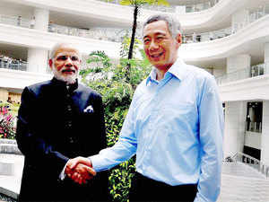 India and Singapore singed ten pacts including a joint declaration by the two PMs on a strategic partnership that was released after Modi's meeting with his Singaporean counterpart.
