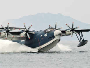 In pic: This undated handout picture released by Japan Martime Self-Defense Force (JMSDF) on May 28, 2013 shows the JMSDF amphibious plane US-2.