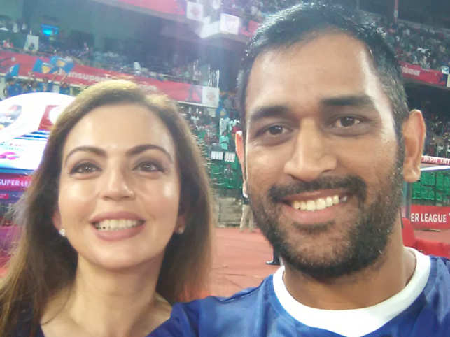 Nita Ambani took a picture with Indian one-day captain M S Dhoni at the match between Chennaiyin FC and Delhi Dynamos FC.