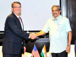 In pic: Defence Minister Manohar Parrikar shakes hands with US Secretary of Defence, Ashton Carter during a meeting on the sidelines of the 3rd ASEAN Defence Ministers' Meeting.