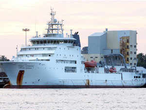 NIA sources said a team of NIA officials investigating the case has ventured into the sea by deep sea exploration ship 'RV Samudra Ratnakar'(seen in the picture) from Ernakulam wharf this morning.