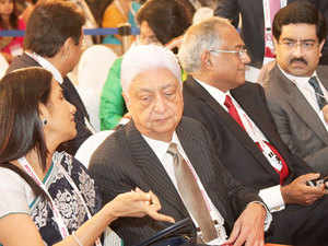 From left Chanda Kochhar is the managing director of ICICI Bank ,Wipro: Chairman Azim Premji , TVS Chairman and Managing Director Venu Srinivasan and Kumar Mangalam Birla, Aditya Birla Gruop Chairman during the German Chancellor Angela Merkel addressing the conference on Digitizing Tomorrow Together.