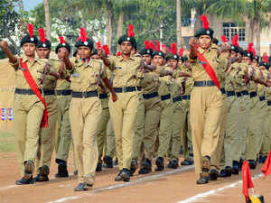 In pic: NCC cadets takes oath and perform March past during the 67th NCC Day Celebrations at Police Barax in Visakhapatnam.