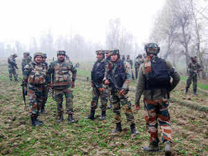 In pic: Army men near the encounter site in South Kashmir's Anantnag where the gunfight between forces and three militants broke out on Nov 23, 2015.