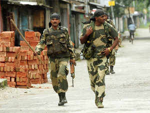 In pic: BSF personnel patrol deserted streets of Kokrajhar