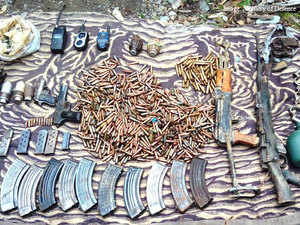 Security forces seized a huge cache of arms and ammunition, including five weapons, in Doda district of Jammu and Kashmir.