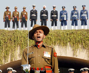 File photo: Army Navy and Airforce officers pay tribute at Rajghat, the memorial to Mahatma Gandhi in New Delhi.