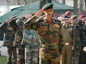 In pic: General Officer, Commanding-in-Chief of Northern Command, Lt Gen DS Hooda pays tributes to Commanding officer of 41 Rashtriya Rifles, who was killed during a gun fight with militants.