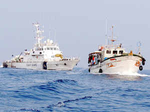 In pic:Indian Coast Guard ship Rajdoot chasing high seas tuna long liner 'Colombo Marine' for illegal poaching on the high seas in Indian EEZ at Chereapani reef.
