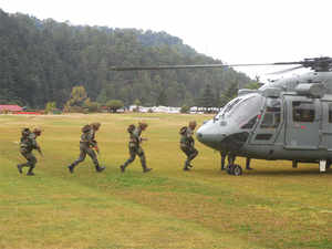 In pic: Army personals of Assam regiment during a mock drill exercise 'Mountain Rescue'