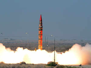 This handout photograph released by Pakistan's Inter Services Public Relations (ISPR) on December 15, 2015, a Shaheen 1A surface-to-surface ballistic missile launches from an undisclosed location in Pakistan.