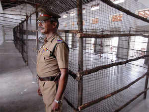 (In pic) Police personnel on duty in Loyola College at Chennai.