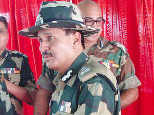 (In pic) BSF's Director General D K Pathak at the international border adjoining Jaisalmer.