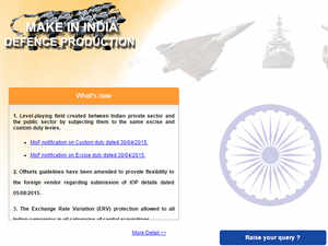 The new 'Make in India' website that will provide an interface with industry and promised to finalise the new revised defence procurement procedure by January.