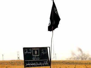 In pic: Islamic State group (IS) flag and banner